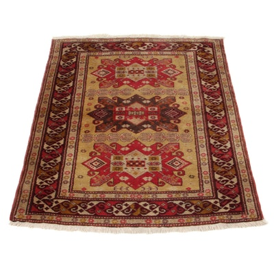 3'1 x 3'10 Hand-Knotted Caucasian Turkish Village Accent Rug, 1960s