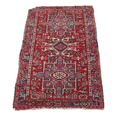 2'5 x 4' Hand-Knotted Persian Karaja Accent Rug, 1930s