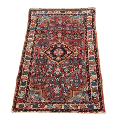 2'3 x 4'1 Hand-Knotted Persian Malayer Accent Rug, 1920s