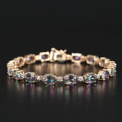 14K Mystic Topaz and Diamond Bracelet