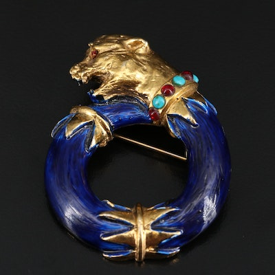 Richelieu Tiger Brooch Featuring Rhinestones, Faux Turquoise, Glass and Enamel
