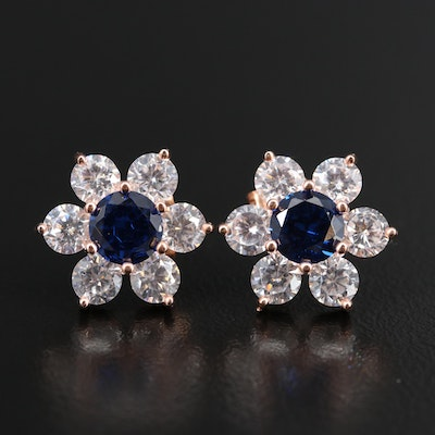 Sterling Spinel and Cubic Zirconia Flower Stud Earrings