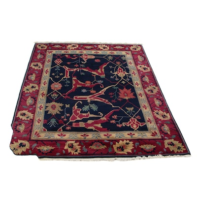 8'6 x 12'5 Hand-Knotted Tibetan Turkish Oushak Room Size Rug, 2000s