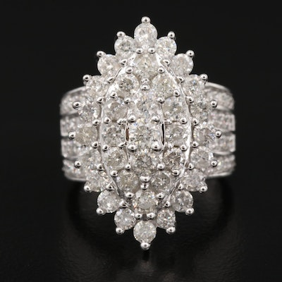 14K 4.25 CTW Diamond Navette Ring