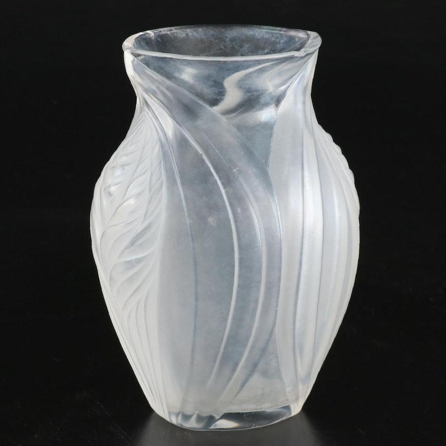"Lalique ""Pavie"" Iridescent Glass Vase, Late 20th Century"