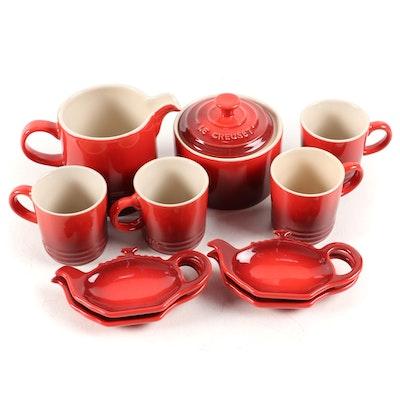 Le Creuset Cerise Stoneware Coffee Mugs, Creamer, Sugar, and Tea Bag Holders