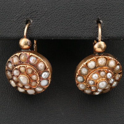Mid-Victorian 18K Seed Pearl Day and Night Earrings