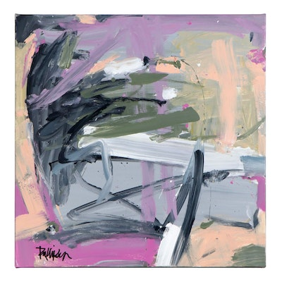 """Robbie Kemper Abstract Acrylic Painting """"White Peach Grays,"""" 21st Century"""