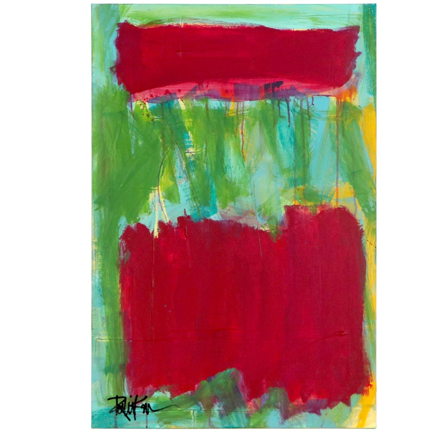 """Robbie Kemper Abstract Acrylic Painting """"Magenta and Lime,"""" 21st Century"""