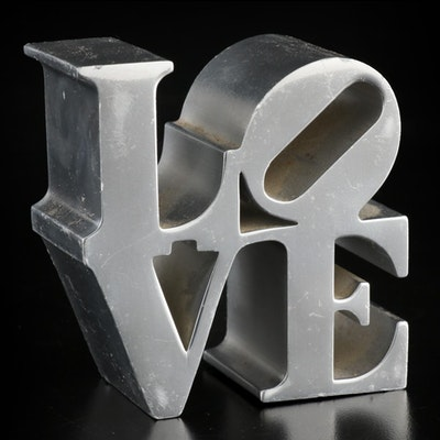 """Love"" Chrome Paperweight After Robert Indiana"