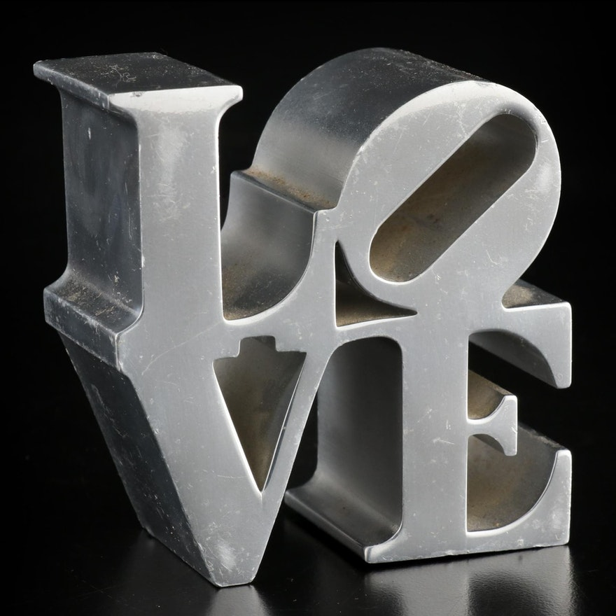 """""""Love"""" Chrome Paperweight After Robert Indiana"""