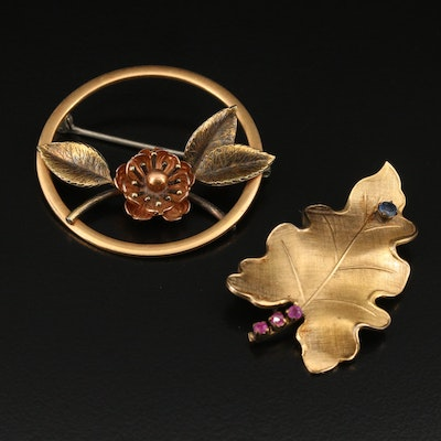 Vintage Krementz and Winard Foliate Brooches with Sapphire and Ruby