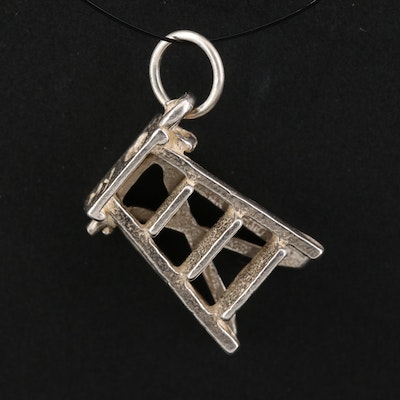 """Sterling """"Step Up to My ♡"""" Ladder Charm"""