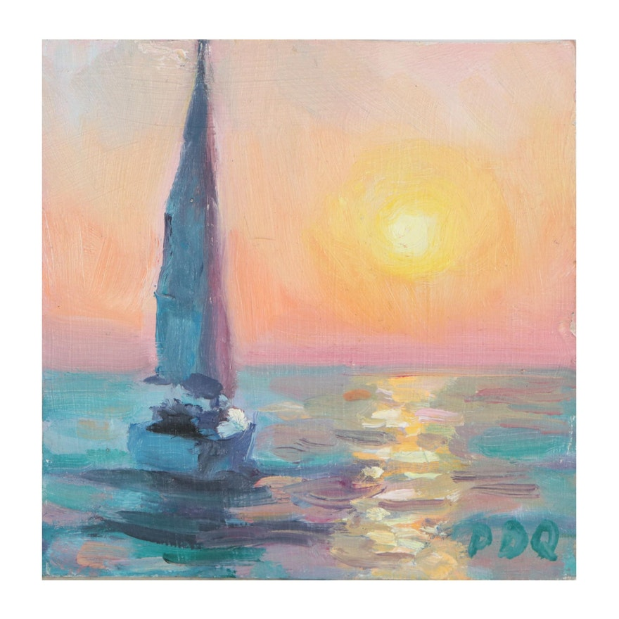 """Peter Chorao Oil Painting """"Sailing,"""" 2020"""