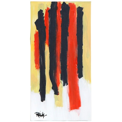 """Robbie Kemper Abstract Acrylic Painting """"4+4 = Yellow,"""" 21st Century"""