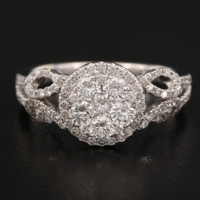14K 1.06 CTW Diamond Cluster Ring