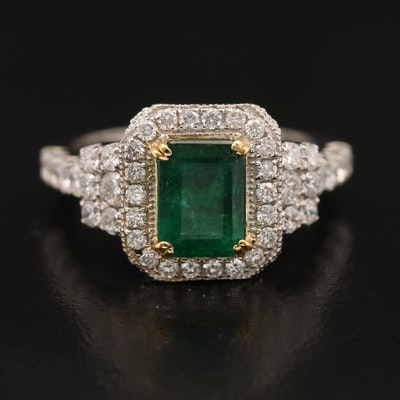 14K 1.58 CT Emerald and 1.07 CTW Diamond Ring