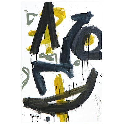 """Robbie Kemper Abstract Acrylic Painting """"Blue Black Green,"""" 21st Century"""