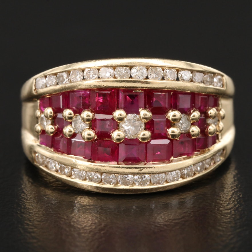 14K Diamond and Ruby Tapered Band