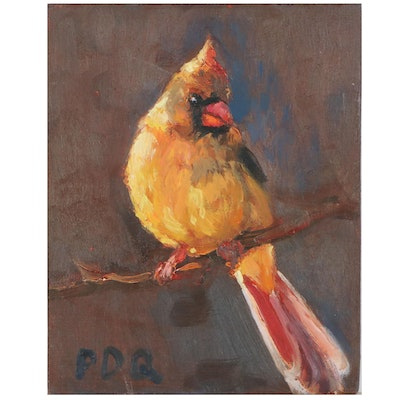 """Peter Chorao Oil Painting """"Female Cardinal,"""" 2020"""