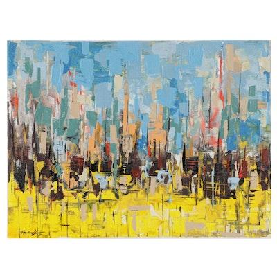 Farshad Lanjani Acrylic Painting of Abstract Landscape, 21st Century