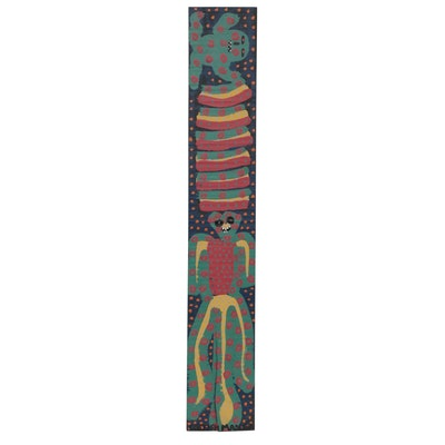 "Michael ""Catfish Man"" Suter Folk Art Acrylic Painting, Late 20th Century"