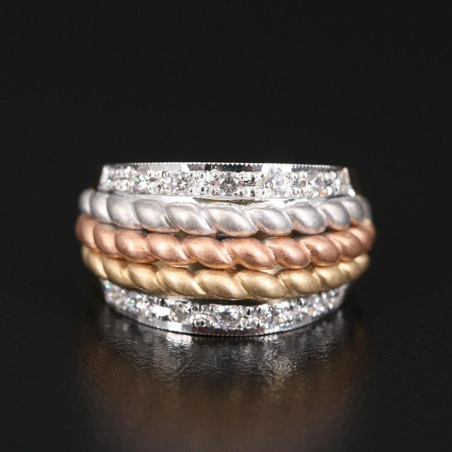 14K Tri-Color Cubic Zirconia Ring