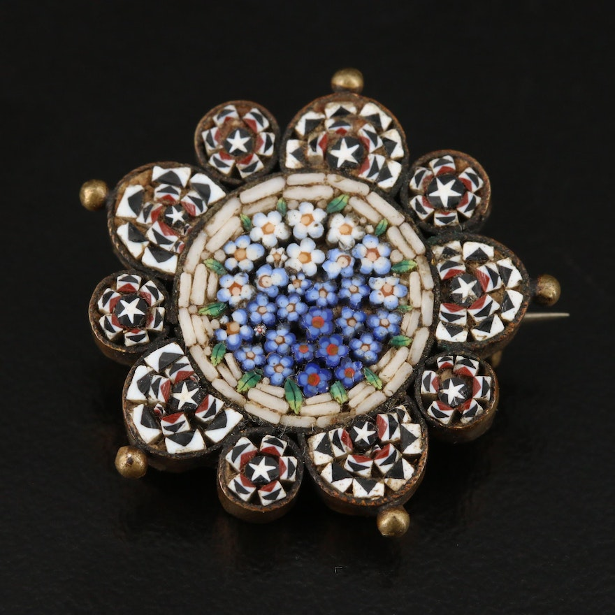 Victorian Micromosaic Floral Brooch