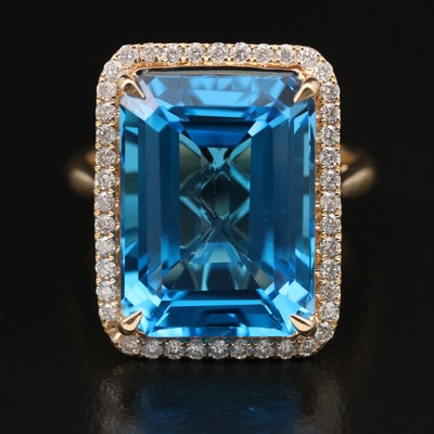 14K 14.00 CT Swiss Blue Topaz and Diamond Halo Ring
