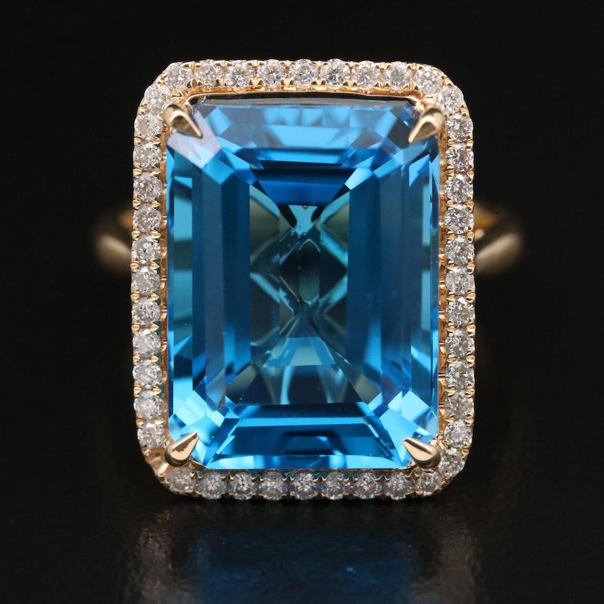 14K 14.00 CT Swiss Blue Topaz and Diamond Halo Ring