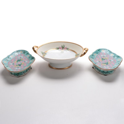 Pair of Ceramic Chinese Trinket Dishes and Porcelain and Gilt Serving Bowl