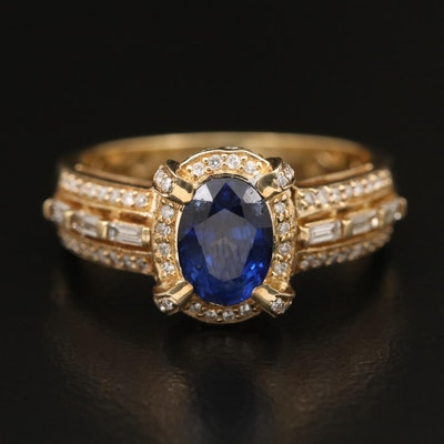 14K 1.65 CT Sapphire and Diamond Ring