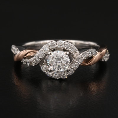 14K Diamond Ring with Twist Design
