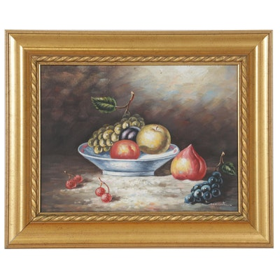 Oil Painting of Still Life with Fruit and Bowl