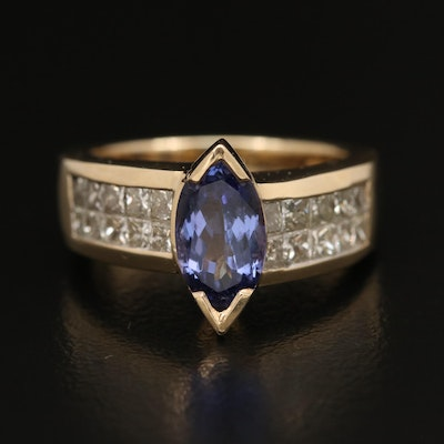 14K 1.17 CT Tanzanite and Diamond Ring