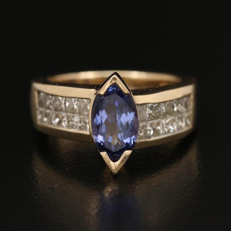 14K 1.17 CT Tanzanite and Diamond Ring