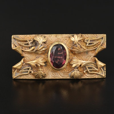 Art Nouveau Rectangular Brooch with Foliate Pattern