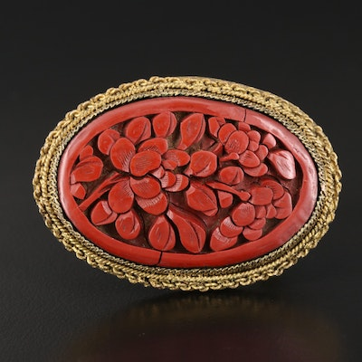 Antique Imitation Cinnabar Oval Brooch with Floral Design