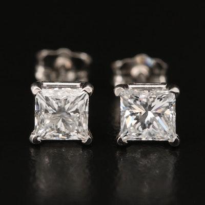 Platinum 1.60 CTW Diamond Stud Earrings with GIA eReports