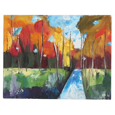 Roger Gelis Oil Painting of Fall Foliage, 2020