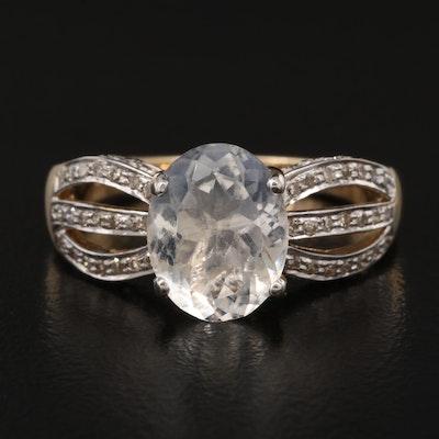 14K Labradorite and Diamond Ring
