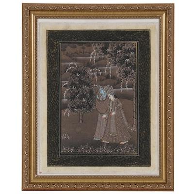 Indian Pichhwai Gouache Painting of Radha and Krishna, 20th Century