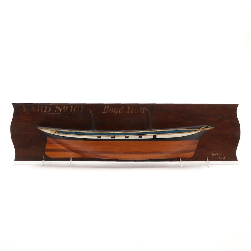 """Yard No. 16 Regd Hull 1807"" Wood Carved Boat Sculpture"