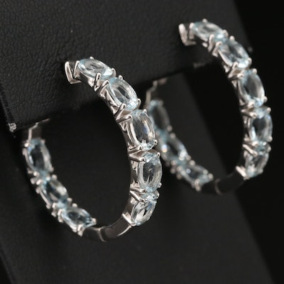 Sterling Aquamarine Inside Out Hoop Earrings