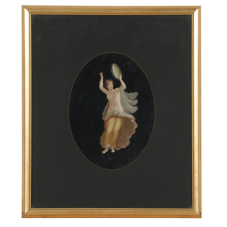 Neoclassical Oil Painting of Woman with Tambourine