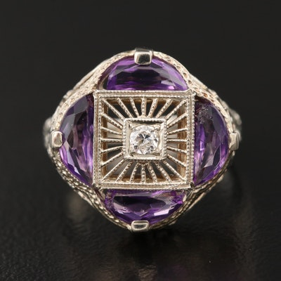 Art Deco 14K Diamond and Amethyst Wirework Ring