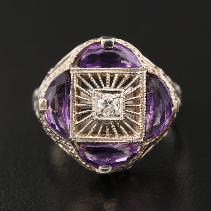 Art Deco 14K Diamond and Amethyst Wirework Ring