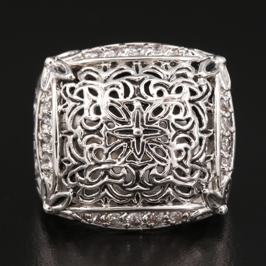 Openwork Ring Featuring Cubic Zirconia Accents