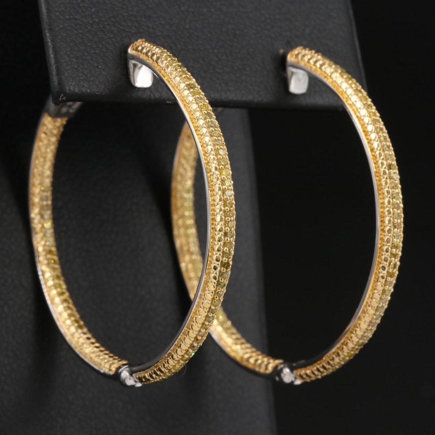 Sterling Silver Diamond Inside-Out Hoop Earrings