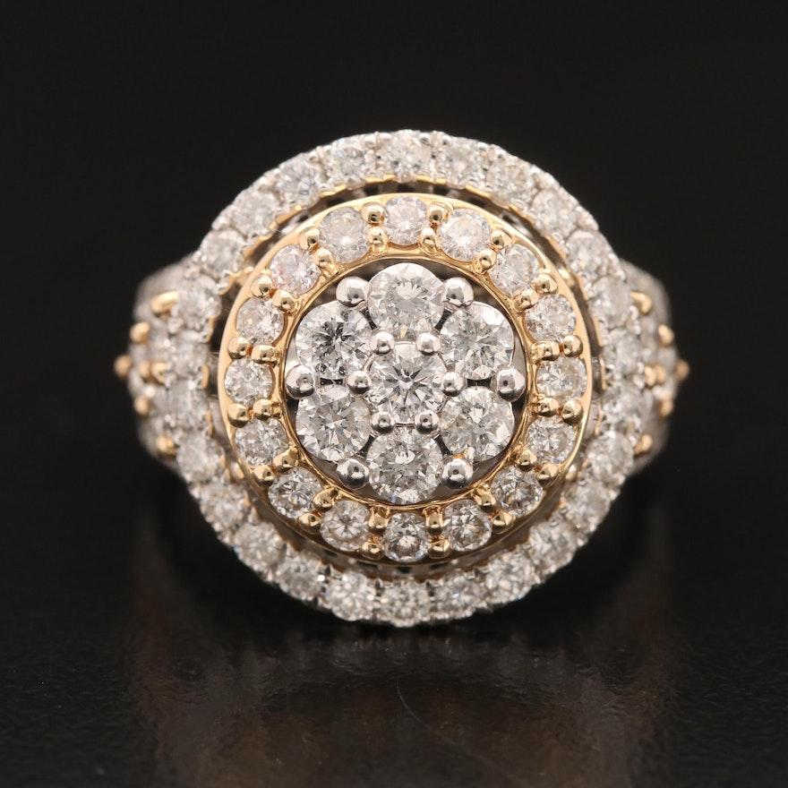 14K 3.25 CTW Diamond Cluster Ring